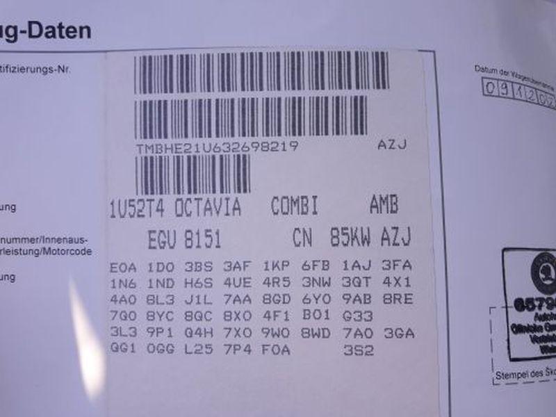 SKODA OCTAVIA COMBI (1U5) 2.0